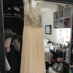 Faviana Champagne prom dress.